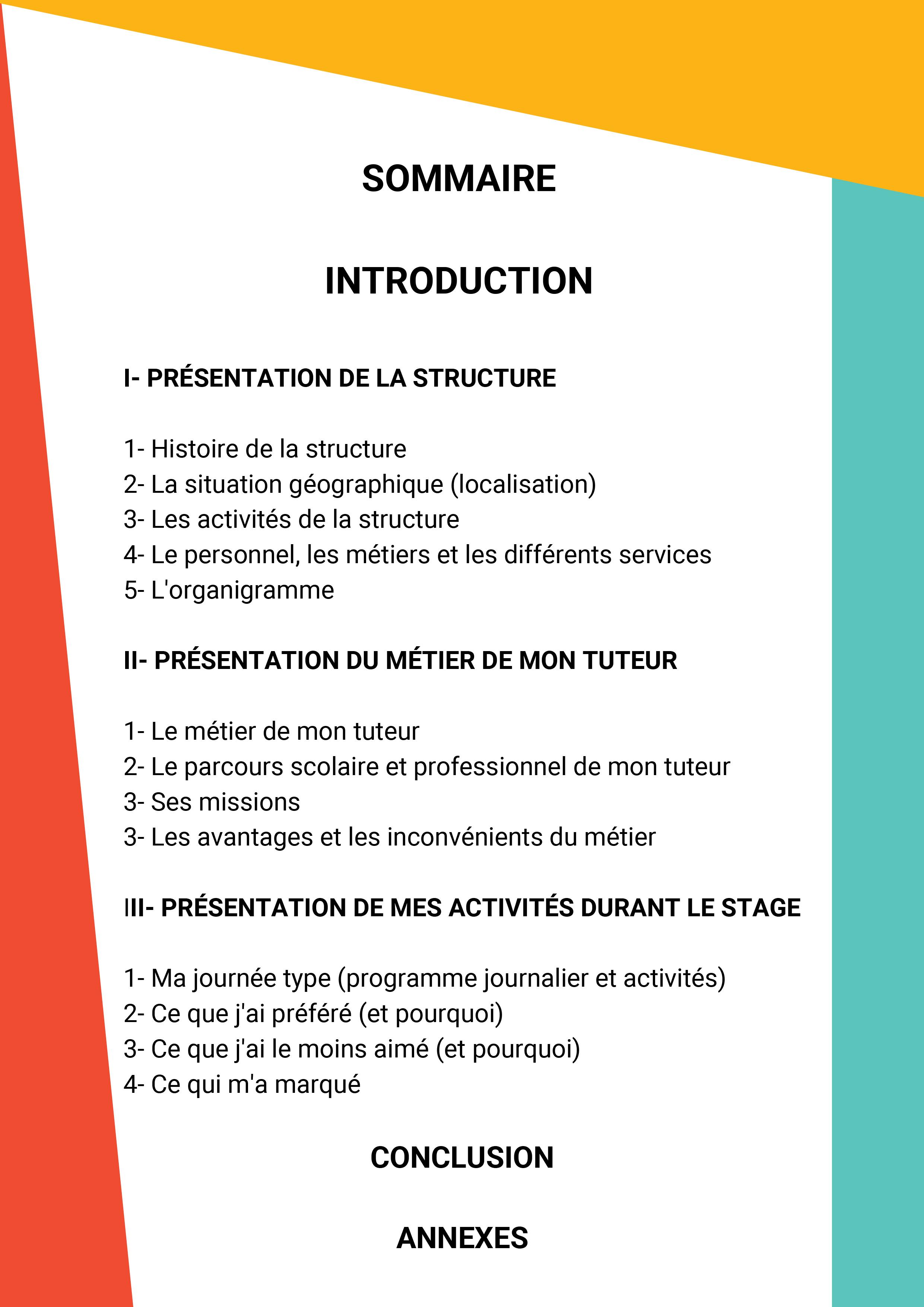 Rapport De Stage Stage De 3e