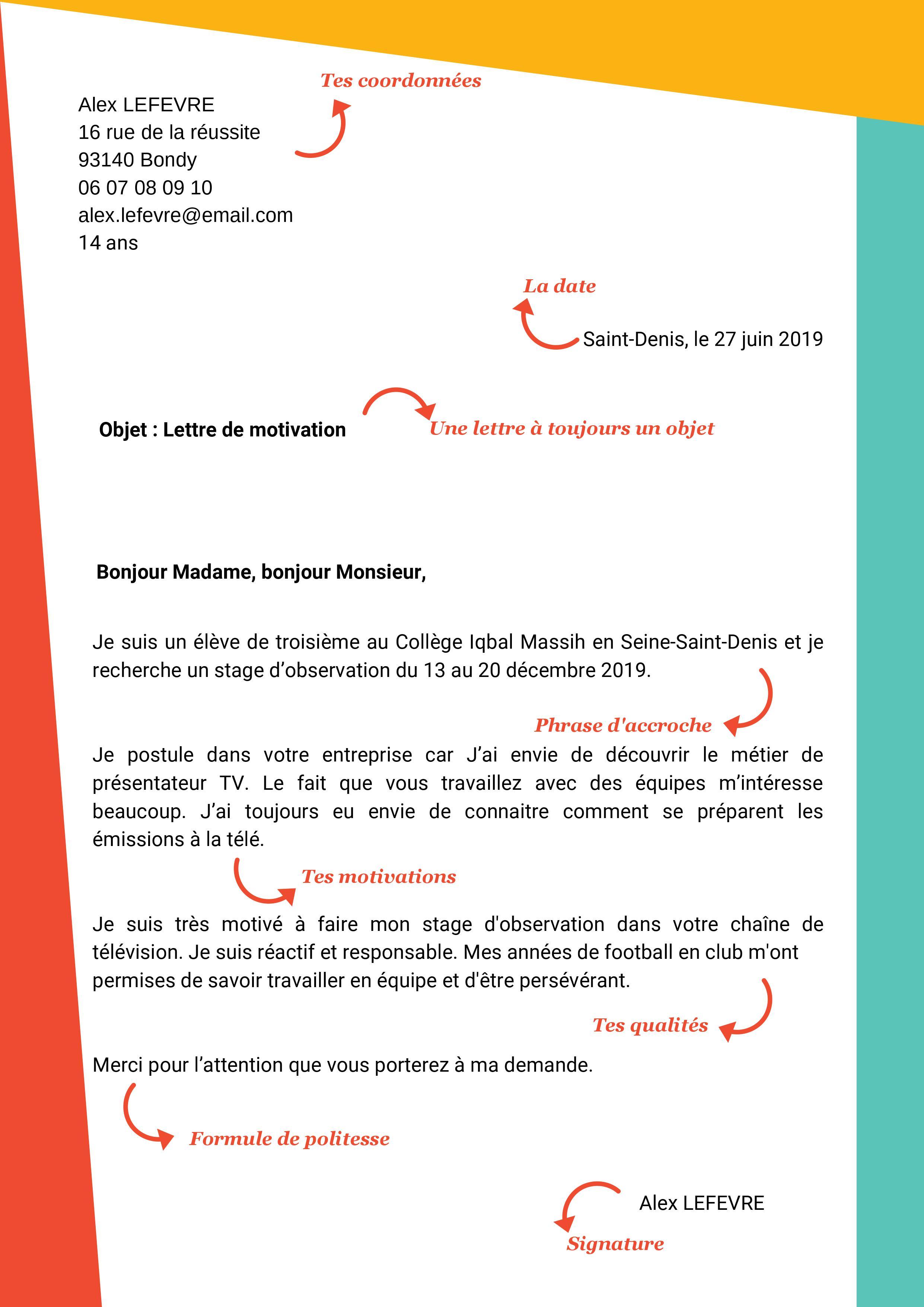 Exemple lettre de motivation stage 3e