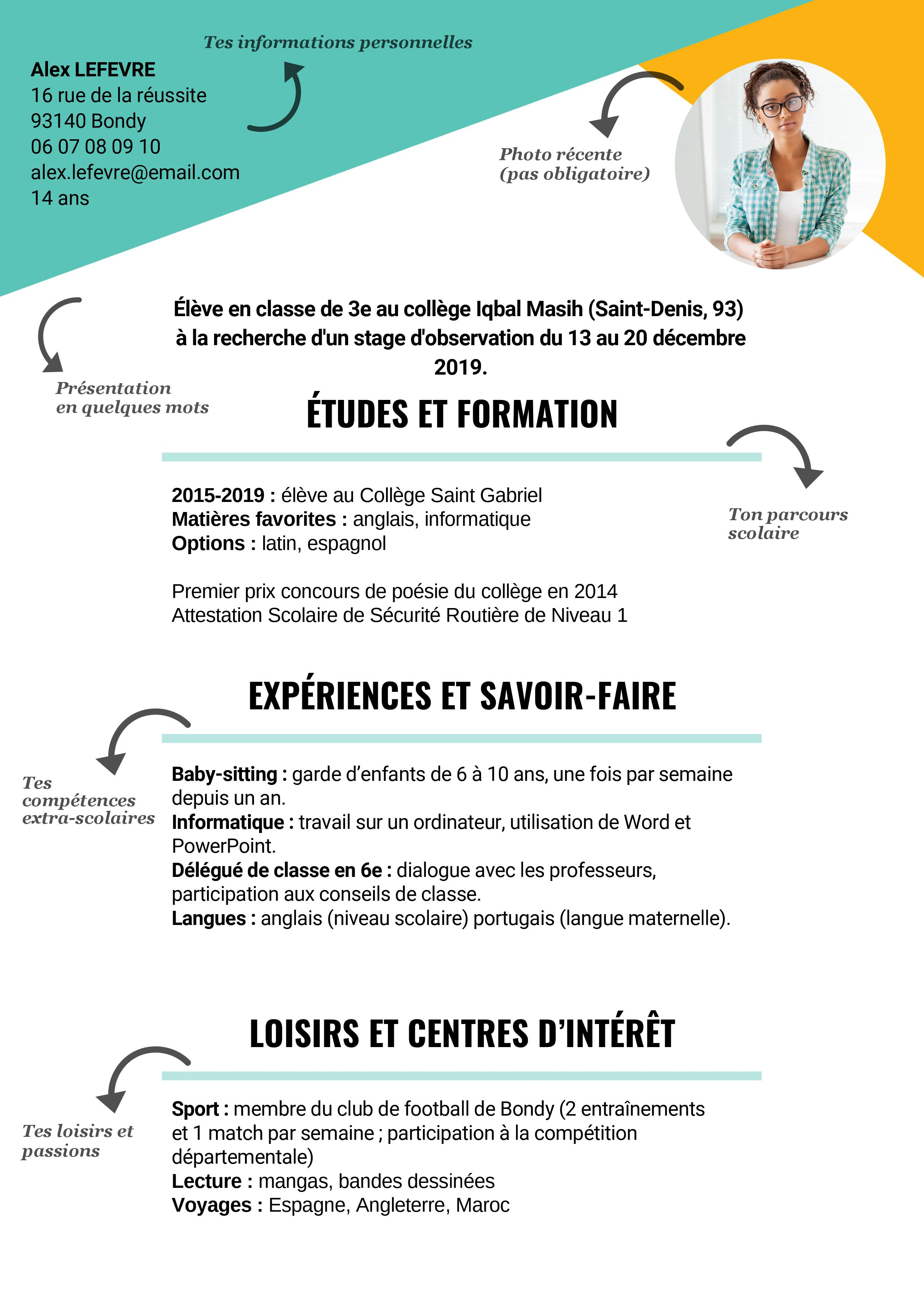 Exemple CV stage 3e REP conseils